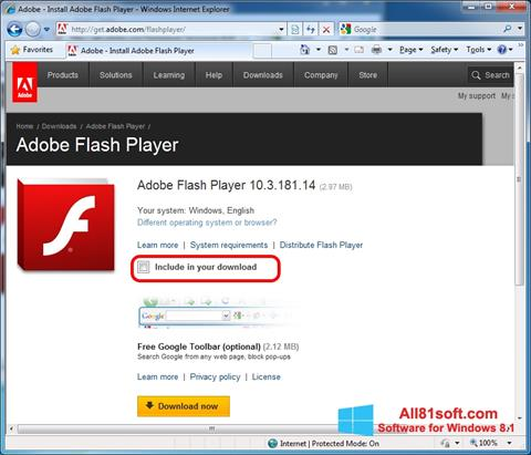 Screenshot Adobe Flash Player Windows 8.1