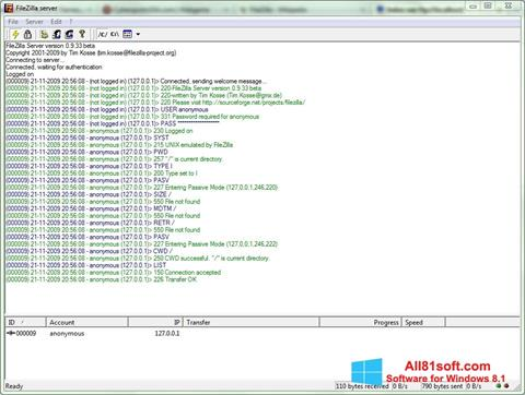 Screenshot FileZilla Server Windows 8.1