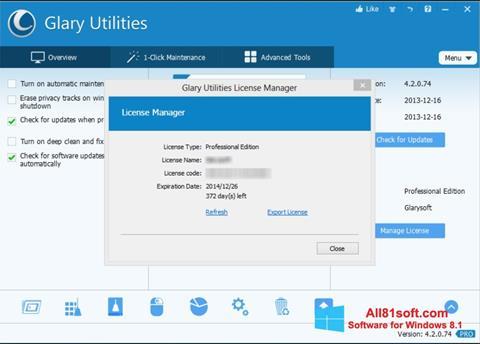 Screenshot Glary Utilities Windows 8.1