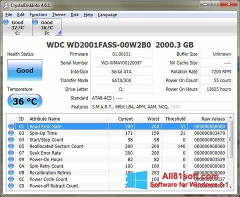 Screenshot CrystalDiskInfo Windows 8.1