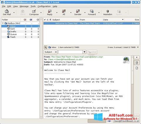 Screenshot Claws Mail Windows 8.1