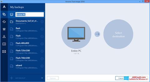Screenshot Acronis True Image Windows 8.1