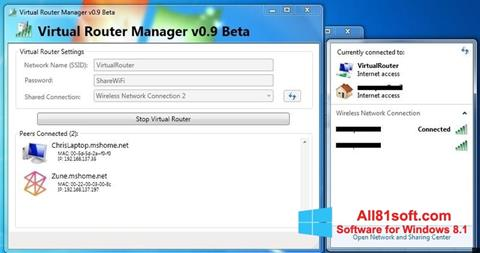 Screenshot Virtual Router Manager Windows 8.1