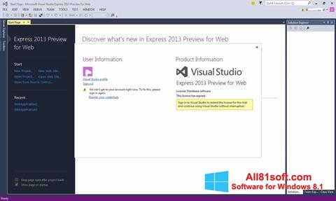 Screenshot Microsoft Visual Studio Express Windows 8.1