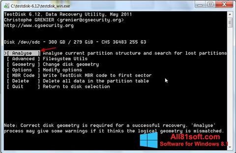 Screenshot TestDisk Windows 8.1