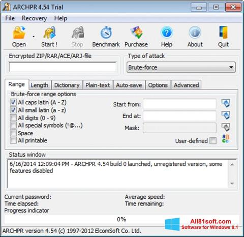 Screenshot Advanced Archive Password Recovery Windows 8.1