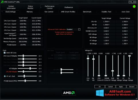 Screenshot AMD Overdrive Windows 8.1